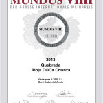 Mundus Vini Silber 2016
